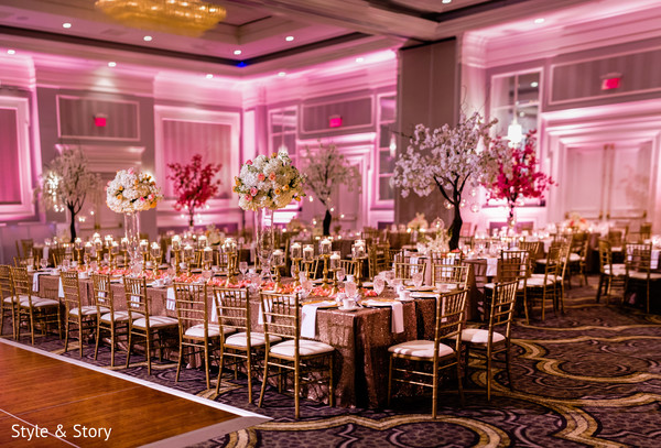 Stunning Indian wedding reception table setup.