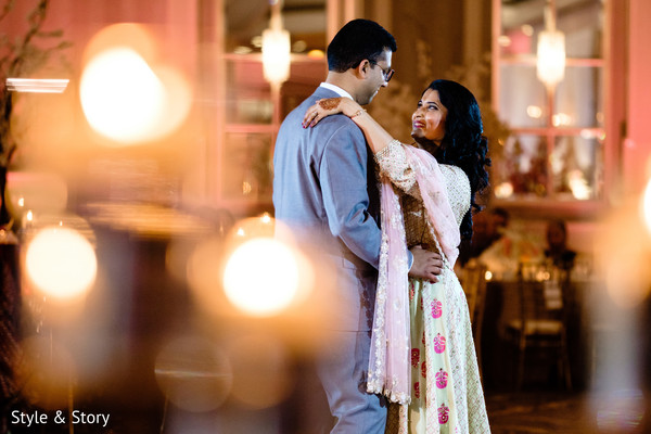 Indian lovebirds during reception dance capture.
