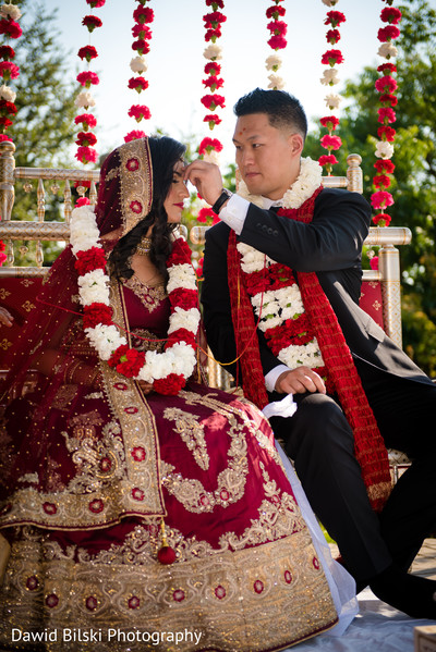 Indian bride and groom during the ceremonies