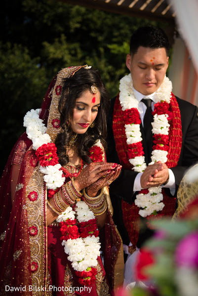 Indian newlyweds spiritual moment