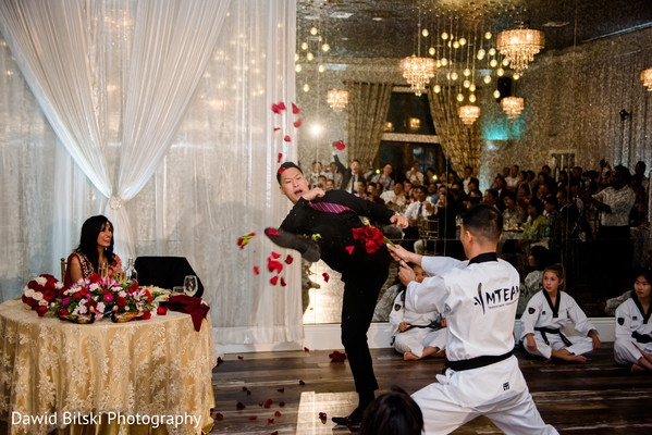 Indian groom showing his karate skills at the wedding