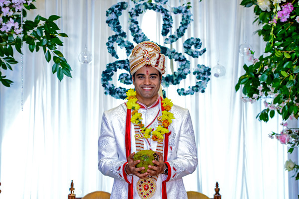 indian wedding ceremony fashion,indian groom,coconut