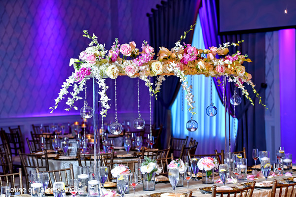 indian wedding reception table,flowers decor,table centerpiece