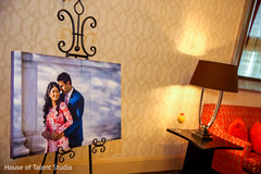 Lovely portrait of Indian bride and groom as a reception decor.