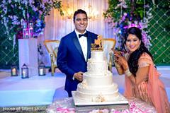 Joyful Indian couple posing with wedding cake.