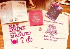 Incredible Indian wedding invitations and personalized bags.