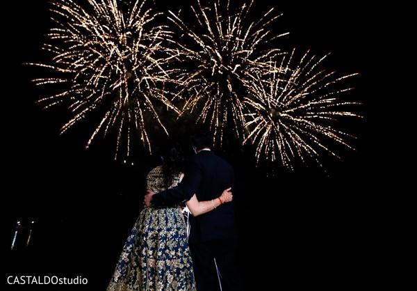 indian bride,indian groom,indian wedding reception,fireworks