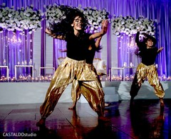 Upbeat Indian wedding Bollywood dancers.