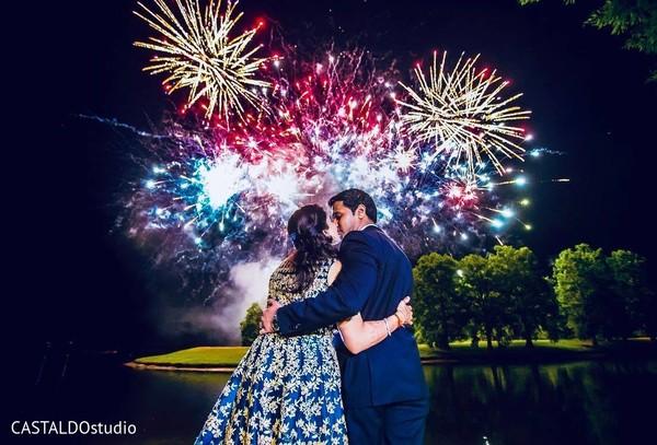 indian wedding fireworks,indian bride,indian groom