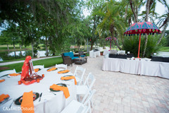 Colorful Indian Sangeet party decoration.