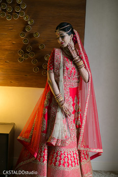 Traditional Indian bridal red lehenga.