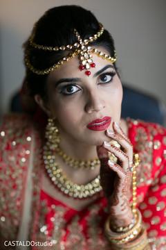 Enhancing bride ready for wedding ceremony.
