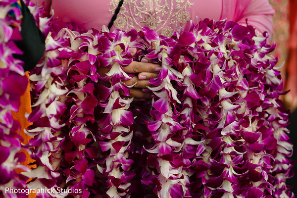 Details of the garlands used at the Indian wedding