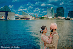 Stunning capture of Maharani and Indian groom by the shore