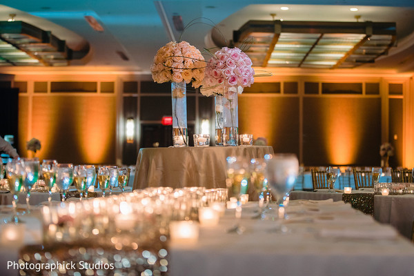 indian wedding,floral decor,venue,table