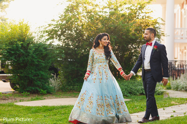 Outdoor themed indian bride with groom photo session.