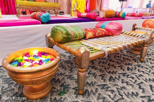 Colorful Indian sangeet decoration.