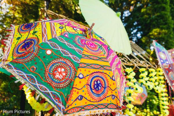 Sangeet colorful umbrellas decorations.