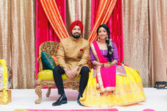 Magnificent Indian couple at their sangeet party.