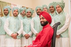 Elegant Indian groom with groomsmen.
