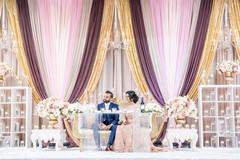 Indian lovebirds reception speech moment.