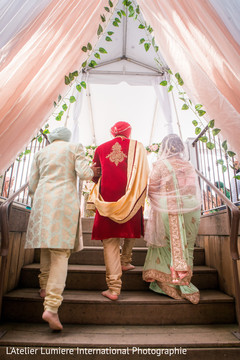 Indian groom entering to his wedding ceremony.