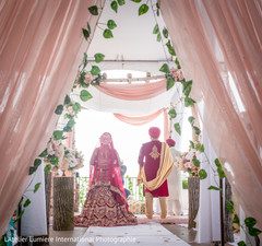 Marvelous capture of Indian bride and groom at ceremony.