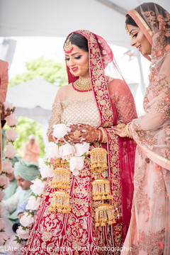 Indian bride at her varmala ceremony ritual.