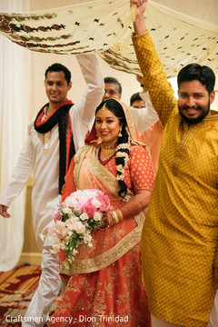Indian bride makes her grand entrance to the ceremony