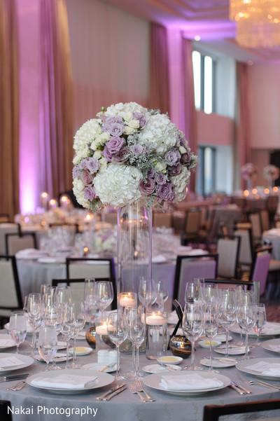 Floral arrangement details at the tables