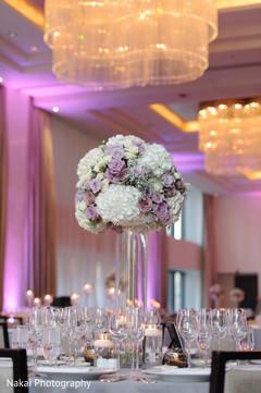 Floral arrangement design at the reception