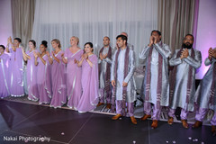 Bridesmaids and groomsmen at the reception venue