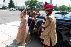 Indian bride and guests with the ride and Raja