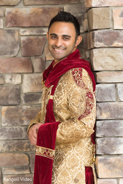 Indian groom posing during the photo shoot