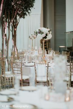 Table arrangement setup for the Indian wedding reception