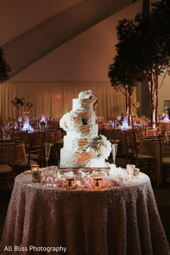 Cake at the Indian wedding reception venue