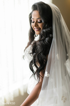 Beautiful Indian bride smiling prior to the ceremony