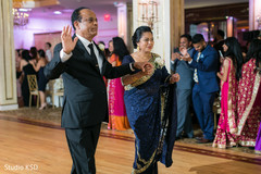 Guests greeting the Indian couple's family