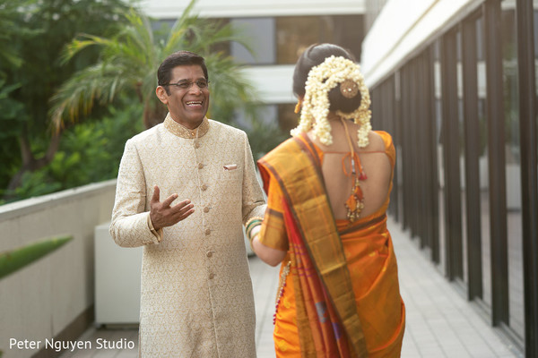 Heartwarming Indian bride and father first look.