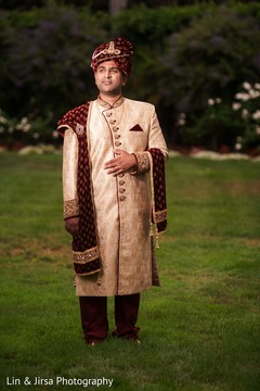 Enhancing Indian groom outdoors photo.