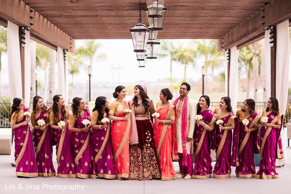 indian bride,indian bridesmaids,ceremony fashion