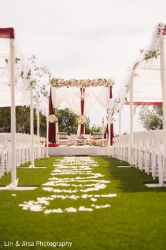 Flowers and daring mandap decor.