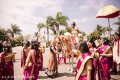 Joyful indian wedding baraat procession.