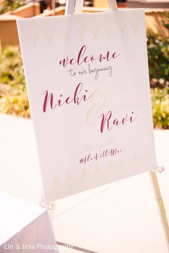 Indian wedding personalized welcome sign.