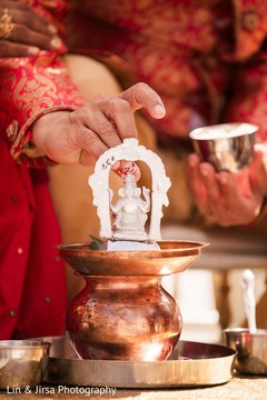 Stunning Indian ceremony Ganesha Puja altar.
