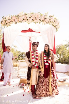 Indian bride and groom during the Saptapadi ritual.