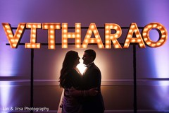 Indian bride and groom silhouette capture.
