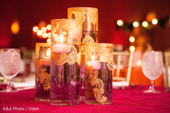 Candle ornaments at the tables