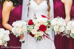 Elegant indian bridal and bridesmaids bouquets.