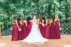 Elegant Indian bride with bridesmaids capture.